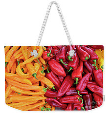 Weekender Tote Bag featuring the photograph Organic Peppers by Tim Gainey