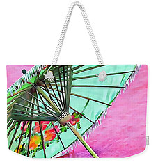 Weekender Tote Bag featuring the photograph Oriental Green Parasol by Dorothy Berry-Lound