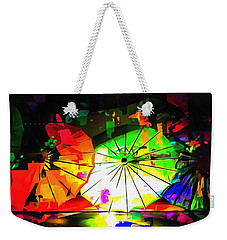 Weekender Tote Bag featuring the photograph Oriental Parasols Abstract by Dorothy Berry-Lound