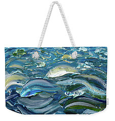 Weekender Tote Bag featuring the painting Original Oil Painting With Palette Knife On Canvas - Impressionist Roling Blue Sea Waves  by OLena Art Brand