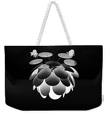Weekender Tote Bag featuring the photograph Ornamental Ceiling Light Fixture - Grayscale by Debi Dalio
