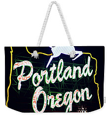 Weekender Tote Bag featuring the photograph Portland White Stag Red Nose Sign by Rospotte Photography