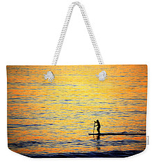 Weekender Tote Bag featuring the photograph Paddle Boarder Malibu by John Rodrigues