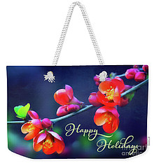 Painted Quince Blossoms Winter Holiday Art Weekender Tote Bag