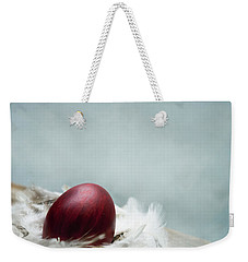 Painted Red Easter Egg In Bird Feather Nest Over Vintage Blue Ar Weekender Tote Bag