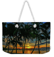 Palm Tree Lagoon Sunrise Weekender Tote Bag