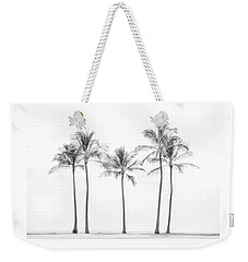 Palm Trees On The Beach In Black And White Weekender Tote Bag