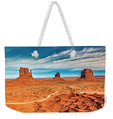 Weekender Tote Bag featuring the photograph Panoramic Monument Valley by Andy Crawford