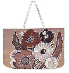 Weekender Tote Bag featuring the painting Paper Bag Bouquet by Robin Maria Pedrero