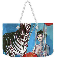 Weekender Tote Bag featuring the painting Party Of One Zebra Boy by Rene Capone