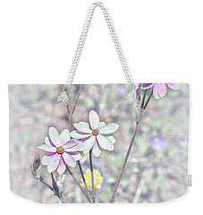 Weekender Tote Bag featuring the photograph Pastel Paper Daisies by Elaine Teague