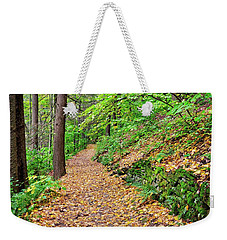 Weekender Tote Bag featuring the photograph Peaceful Autumn Trail At Watkins Glen State Park by Lynn Bauer