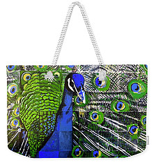 Weekender Tote Bag featuring the painting Peacock by Dustin Miller