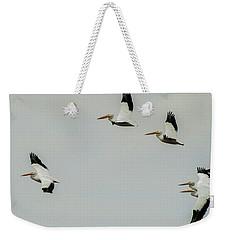 Pelicans In Flight Weekender Tote Bag