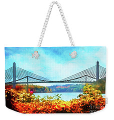 Penobscot Narrows Bridge In Autumn Weekender Tote Bag