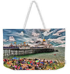 Weekender Tote Bag featuring the photograph People And The Pier by Leigh Kemp