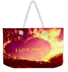 Personalized Heart For John Weekender Tote Bag