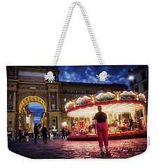 Piazza Della Reppublica At Night In Firenze With Painterly Effects Weekender Tote Bag