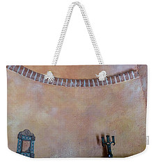 Weekender Tote Bag featuring the photograph Pink Adobe Wall by Rosanne Licciardi