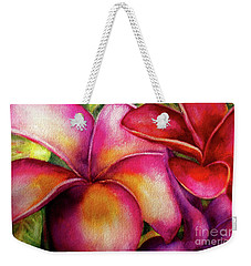 Pink And Red Plumerias Weekender Tote Bag