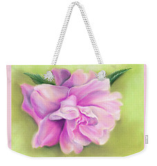 Weekender Tote Bag featuring the pastel Pink Camellia With Leaves by MM Anderson