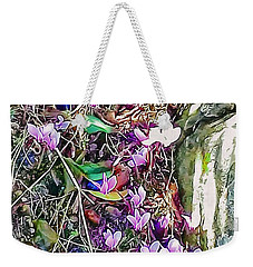 Pink Cyclamen With Fallen Damsons Weekender Tote Bag
