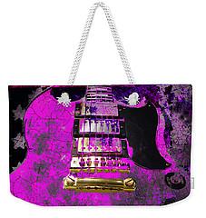 Pink Guitar Against American Flag Weekender Tote Bag