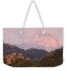 Weekender Tote Bag featuring the photograph Pink Pena Montanesa by Stephen Taylor