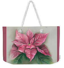 Weekender Tote Bag featuring the pastel Pink Poinsettia by MM Anderson