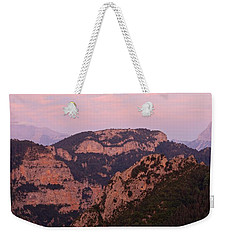 Weekender Tote Bag featuring the photograph Pink Skies Above Pena Montanesa by Stephen Taylor
