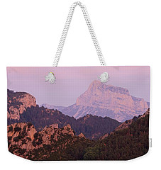 Weekender Tote Bag featuring the photograph Pink Skies And Alpen Glow In The Anisclo Canyon by Stephen Taylor