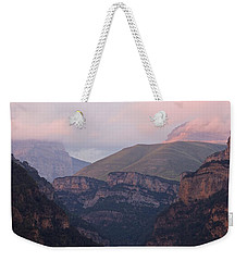 Weekender Tote Bag featuring the photograph Pink Skies In The Anisclo Canyon by Stephen Taylor