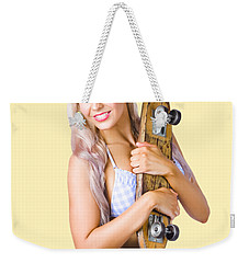 Weekender Tote Bag featuring the photograph Pinup Woman In Bikini Holding Skateboard by Jorgo Photography - Wall Art Gallery