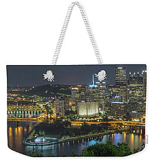 Weekender Tote Bag featuring the photograph Pittsburgh Lights by David R Robinson