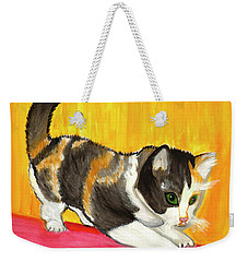 Weekender Tote Bag featuring the painting Playful Kitten by Dobrotsvet Art