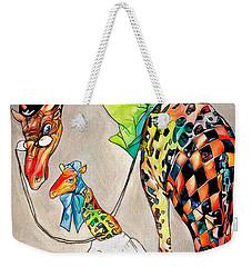 Weekender Tote Bag featuring the digital art Playing Dress Up by Pennie McCracken