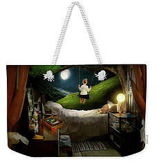 Weekender Tote Bag featuring the photograph Playing Inside by Mike Savad - Abbie Shores
