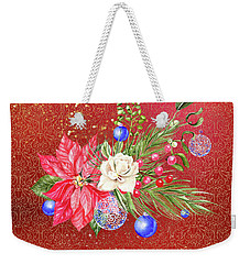 Poinsettia With Blue Ornaments  Weekender Tote Bag