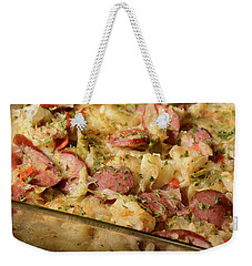 Weekender Tote Bag featuring the photograph Polish Kielbasa Cuisine by Angie Tirado