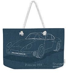 Porsche 959 - Blueprint Weekender Tote Bag