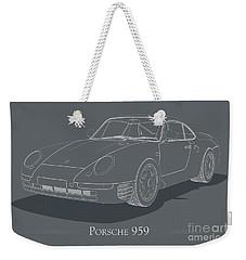 Porsche 959 - White Blueprint On Grey Weekender Tote Bag