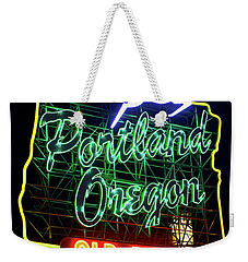 Weekender Tote Bag featuring the photograph Portland White Stag Sign 11318 by Rospotte Photography
