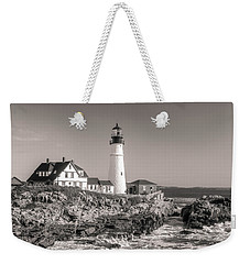 Weekender Tote Bag featuring the photograph Portland Head Light Black And White by Dan Sproul