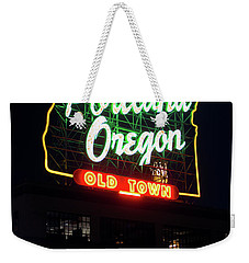 Weekender Tote Bag featuring the photograph Portland Oregon White Stag Sign 1123 by Rospotte Photography