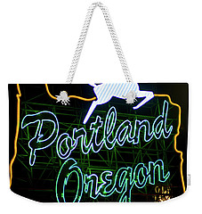 Weekender Tote Bag featuring the photograph Portland White Stag Sign 102518 by Rospotte Photography