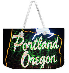 Weekender Tote Bag featuring the photograph Portland Whitestag Neon Gold 119 by Rospotte Photography