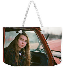 Weekender Tote Bag featuring the photograph Portrait In A Truck by Carl Young