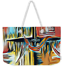 Weekender Tote Bag featuring the mixed media Primary Colors by Jessica Eli