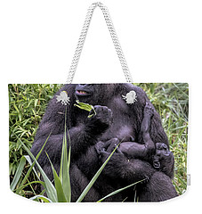 Weekender Tote Bag featuring the photograph Proud Mama Silverback 6243 by Donald Brown