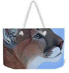 Weekender Tote Bag featuring the painting Puma by Tracey Goodwin